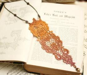 lace necklace -MARIA- ombre tangerine rose